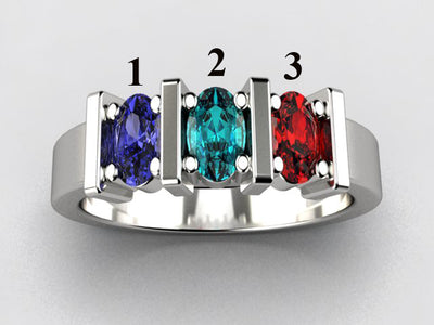 Three Stone Oval Mothers Ring with Bars* designed by Christopher Michael