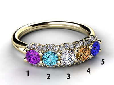 Mother's Ring With Fine Diamond and 5 Natural Birthstones*