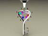 Eight Birthstone Key To Hearts Mothers Pendant* Christopher Michael Design