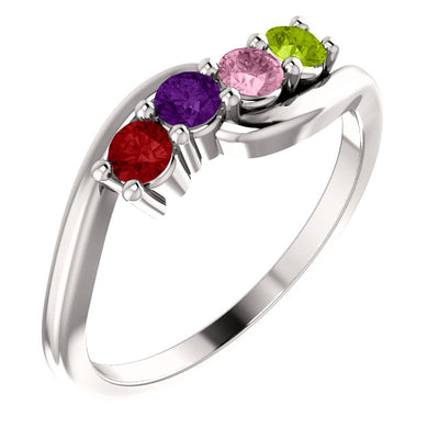 4 Stone Bypass Mothers Ring in Sterling Silver*