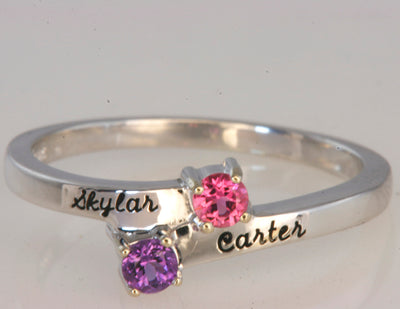 Sterling Silver Engraved Ring With Two 3mm Natural Gems*