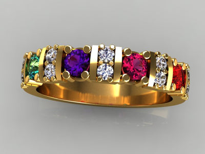Custom Designed Sisters/ Mothers Ring with Four Large Birthstones and Fine Diamonds*