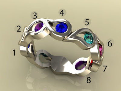 Unique Eight Birthstone Mothers Ring By Christopher Michael*
