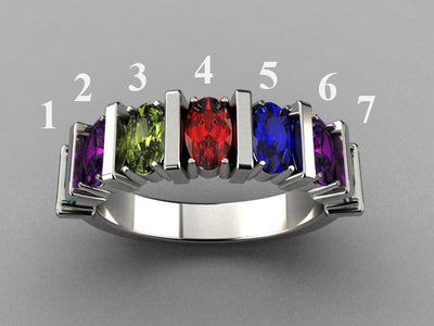 Seven Stone Oval Mothers Ring with Bars* designed by Christopher Michael - MothersFamilyRings.com
