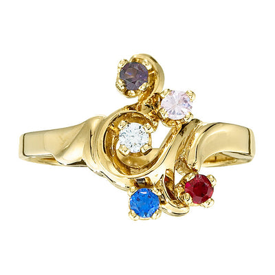 Freeform Mothers Ring with Five 2.5 mm Natural Birthstones*