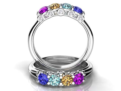 Larger 3.5 mm Four Birthstones Mothers Ring by Christopher Michael With Diamond Accent*