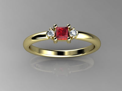 Christopher Michael Designed One Princess Cut Birthstone Mothers Ring With Fine Diamonds*