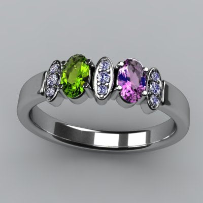 Christopher Michael Designed 2 Stone Oval Mothers Ring with Diamond*