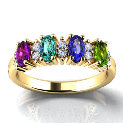 4 Stone Oval Birthstone Ring with Fine Diamonds Designed by Christopher Michael