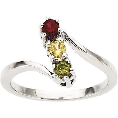 Three Birthstone Twist Shank Mothers Ring*