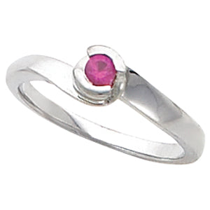 One Stone Sterling Silver 3mm Heavier Mothers Ring*