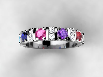 Our Most Popular Mothers ring with Six Larger 3.5 mm Gems by Christopher Michael*
