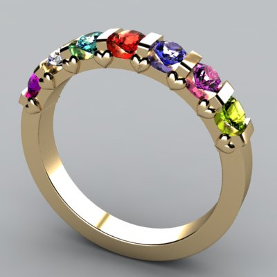 7 Stone Christopher Michael Design Mothers Ring 3mm With Heart Accent* - MothersFamilyRings.com