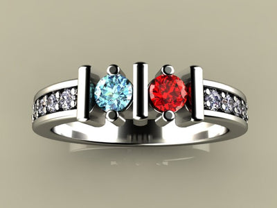 Christopher Michael Designed Two Birthstone Mothers Ring With Ideal Cut Diamonds*