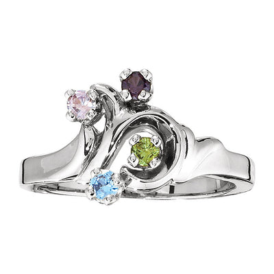 Freeform Mothers Ring with Four 2.5 mm Natural Birthstones*