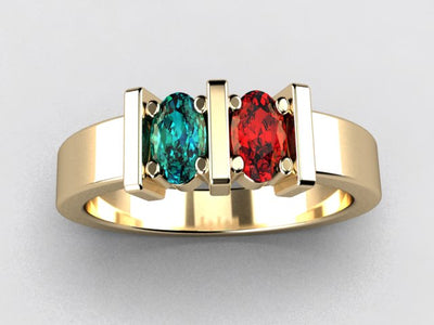 Two Stone Oval Mothers Ring with Bars* designed by Christopher Michael