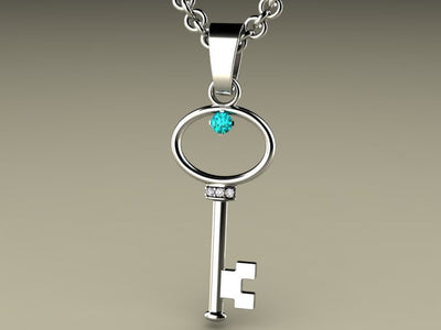 Key To My Heart Mother's Pendant with One Birthstones*