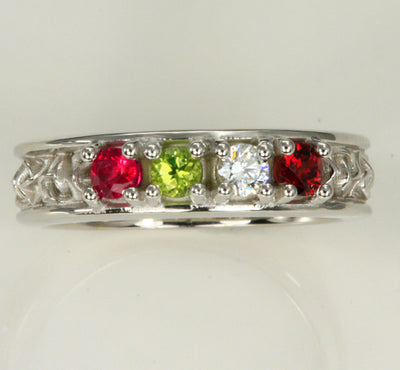 Celtic Style Mothers Ring With Four 3mm Natural Birthstones*