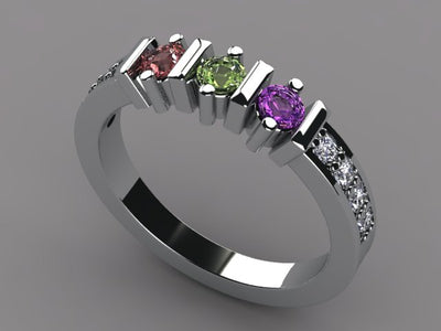 Christopher Michael Designed Mothers Ring With Ideal Cut Diamonds*
