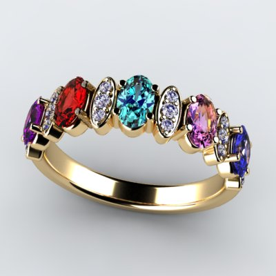 Christopher Michael Designed 5 Stone Oval Mothers Ring with Diamond*