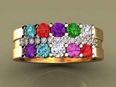 10 Birthstone Mothers Ring with Diamonds*