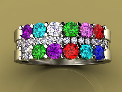 12 Stone Mothers Ring with Diamonds* Christopher Michael Design