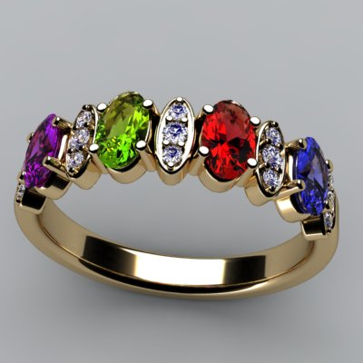 Christopher Michael Designed 4 Stone Oval Mothers Ring with Diamond*