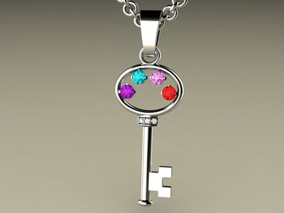 Key To My Heart Mother's Pendant with Four Birthstones*