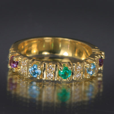 5 Stone Christopher Michael Designed Mothers Ring with Fine Diamonds*