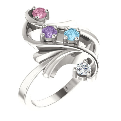 4 Birthstone Bold Floral Design in Silver Mothers Ring*