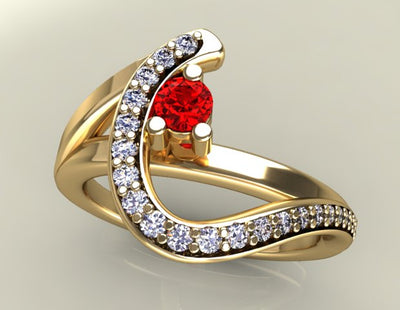 One Birthstone Custom Mothers Ring With Fine Cut Diamonds* by Designed by Christopher Michael