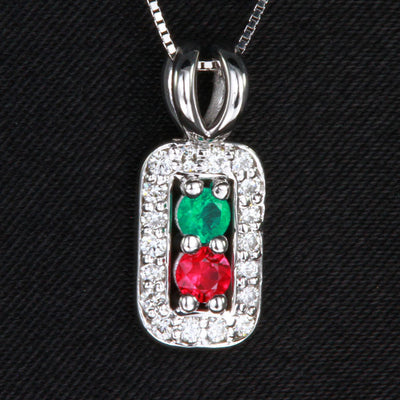 2 Birthstone Mothers Pendant with Diamonds Around by Christopher Michael*
