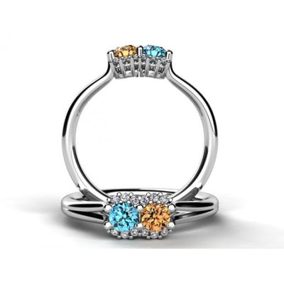 Mother's Ring With Fine Diamond and Two Natural Birthstones*