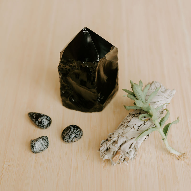 Black Obsidian Semi-Polished Standing Point
