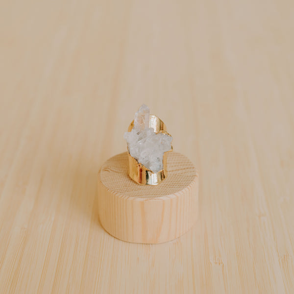 Adjustable Cigar Band Ring - Clear Quartz Cluster