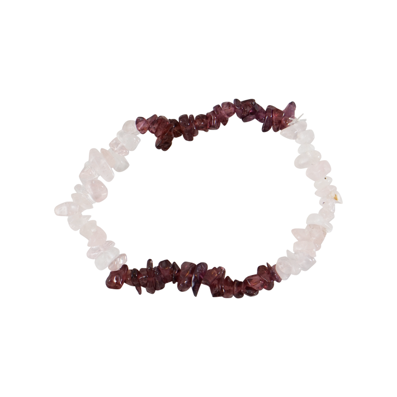 Rose Quartz & Garnet Chip Stretch Bracelet