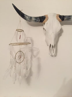 White Feather Dream Catcher Mobile