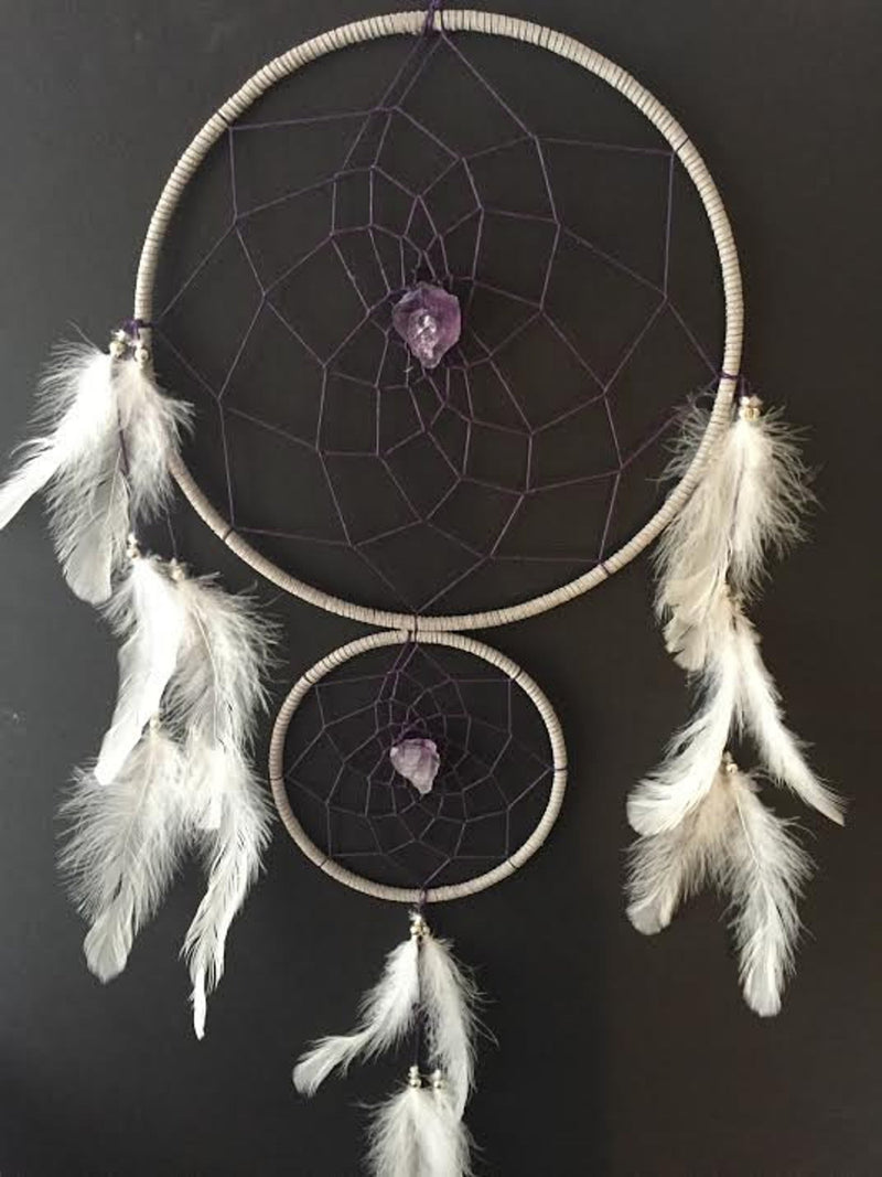 White Double Ring Dream Catcher with Amethyst