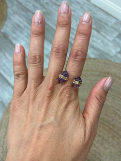 Double Amethyst Gold Ring