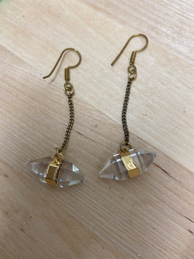 Double Terminated Clear Quartz Dangle Earring