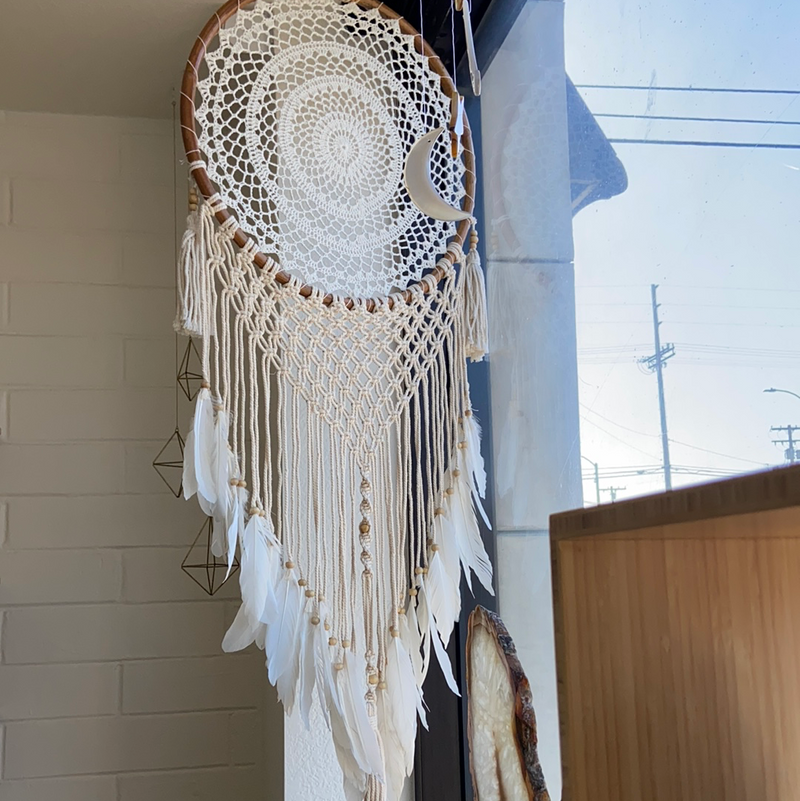 Macrame Dream Catcher with Feathers - Large