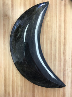 Golden Obsidian Crescent Moon