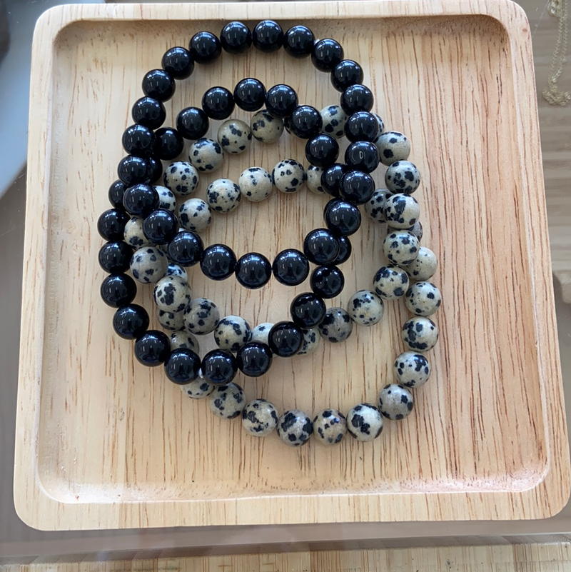 Assorted Beaded Bracelet: Obsidian & Dalmatian Jasper