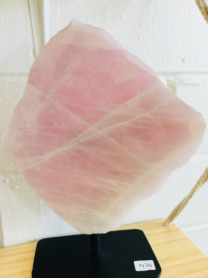 Rose Quartz Slab on Stand