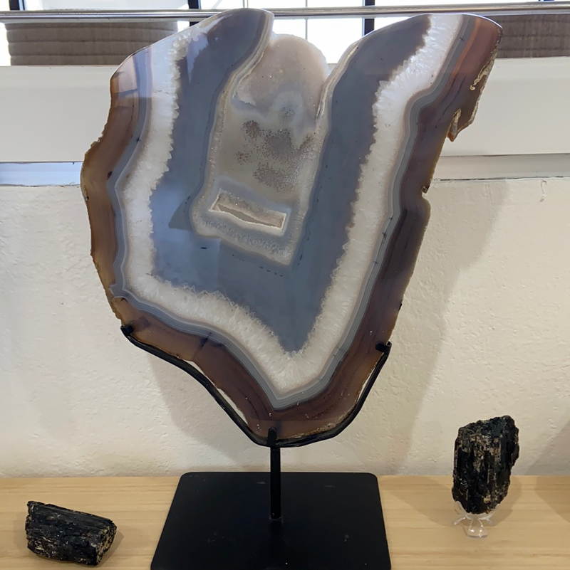 Agate Slice in Stand - Large