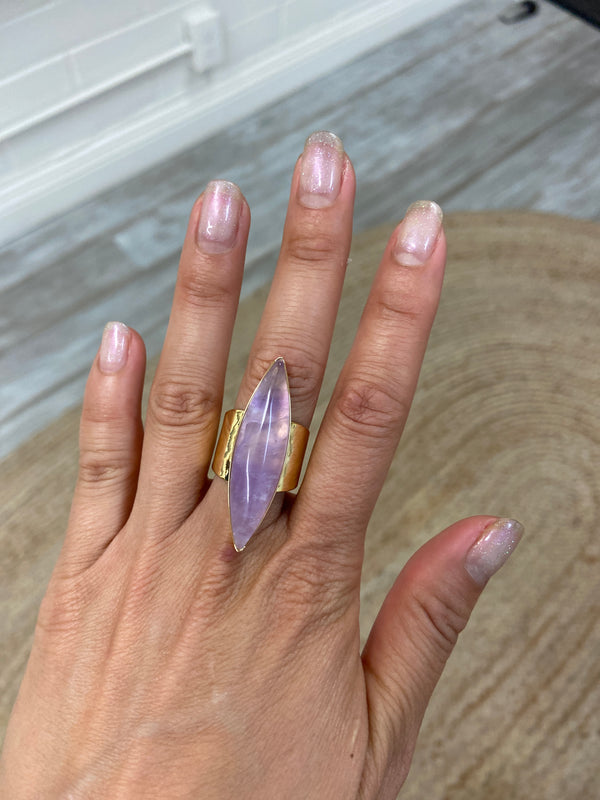 Amethyst Marquis Gold Ring