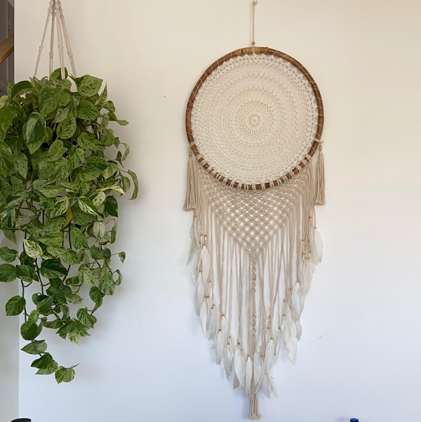 Macrame Dream Catcher with Feathers - XL