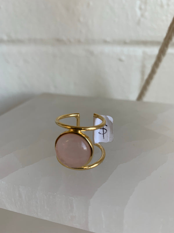 Double Band Crystal Ring - Rose Quartz