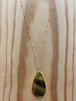 Tiger Eye Tear Drop Pendant Necklace