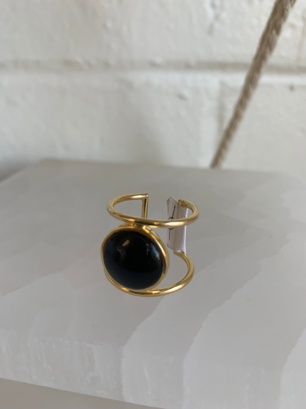 Double Band Crystal Ring - Obsidian